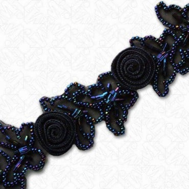 "1 1/2"" CROCHET FLORAL AND BUTTERFLY BEADED TRIM"