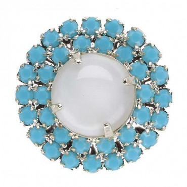 Turquoise Moonstone Button