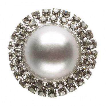 Rhinestone Pearl Button