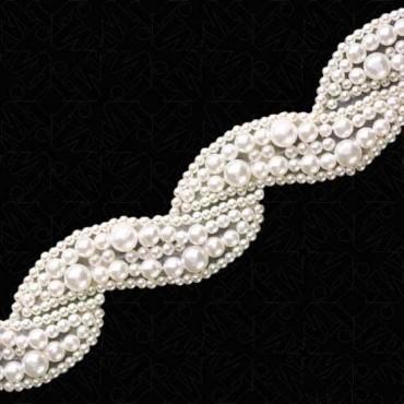 "1 1/4"" (32mm) Scroll Pearl Beaded Trim"
