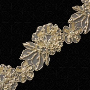 """2 1/4""""(57mm) Sequin And Pearl Beaded Trim"""