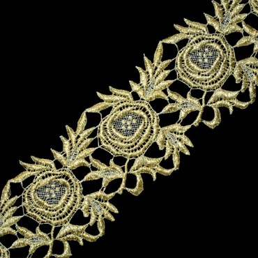 """3 3/4"""" (96mm) Floral Metallic Lace"""