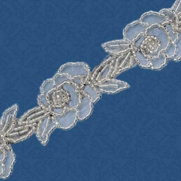 "1 1/4"" FLORAL AND LEAF BEADED TRIM"