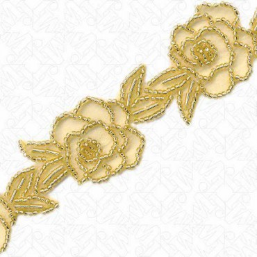 """7/8"""" BEADED FLORAL ON SHEER"""