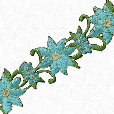 "Iron On 1 ¼"" Blue Green Floral Trim"