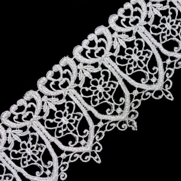"""5"""" IMPORTED METALLIC LACE - SILVER"""