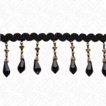 """1 3/4"""" (45mm) Beaded Fringe With Scroll Tape"""