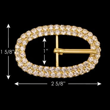 DOUBLE ROW RHINESTONE OVAL BUCKLE