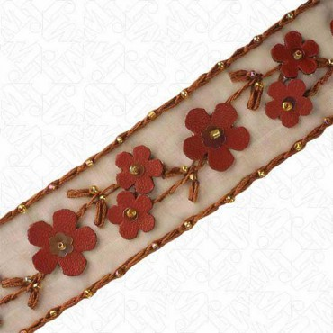 32MM FAUX LEATHER BEAD FLORAL