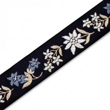 "White Flowers x 3 yds Jacquard Ribbon 1/"" 25mm"