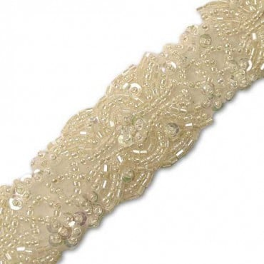 "1 1/4"" EMBROIDERED SEQUIN AND BEADED TRIM"