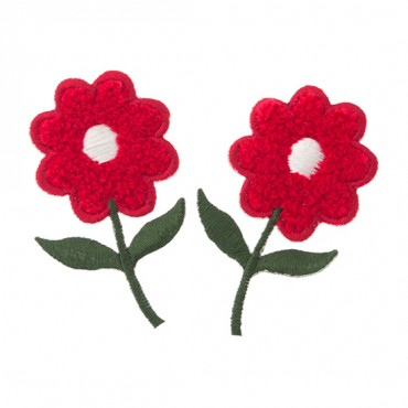 "2.5"" X 1.5"" CHENILLE FLOWER-RED WHITE"