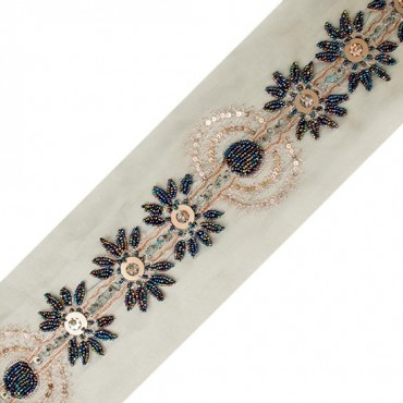 5 Yards 1 Organza Embroidered Beaded Sewing Trim Color Options Available!