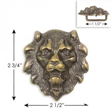 "2.75"" X 2.5"" LION HEAD BUCKLE - ANTIQUE BRASS"