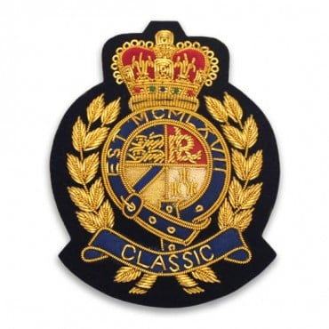 "Sew On ""Classic"" Bullion Crest with Crown Applique"