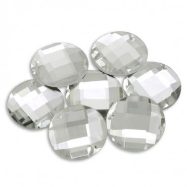 24mm Round Faceted Jewel with 2 Holes