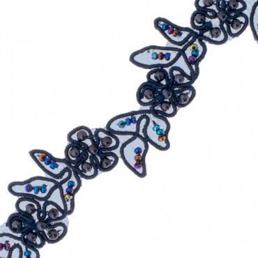 20MM EMBROIDERED FLORAL TRIM-20mm-NAVY