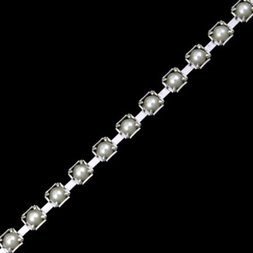 3.5mm PEARL CHAIN - PEARL/SILVER