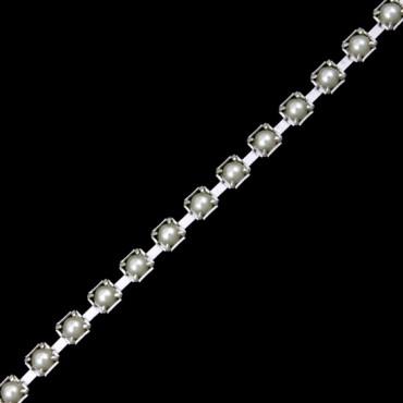 2mm Pearl Chain - Pearl/Silver