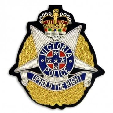 """3 1/8"""" x 2 7/8"""" VICTORIA POLICE  BULLION CREST - GOLD/SILVER MULTI"""