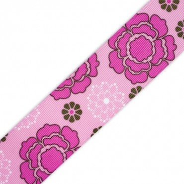 "1 1/2"" S/F FLOWER POWER GROSGRAIN - LIGHT PINK MULTI"