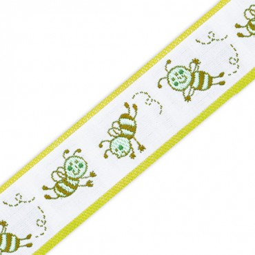 25mm Flying Bee Jacquard Ribbon