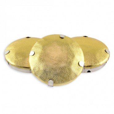 36MM ROUND FAUX LEATHER SEW-ON