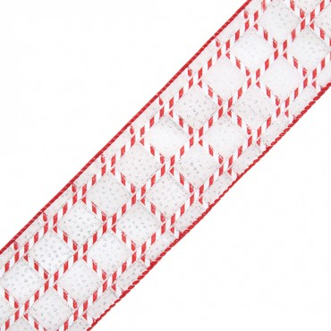 """2 1/2"""" WIRED SWEET MINT RIBBON-2 1/2""""-RED/WHITE"""