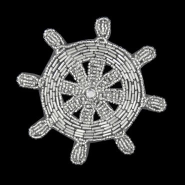 BEADED NAUTICAL WHEEL APPLIQUE