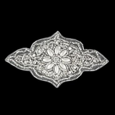 Beaded Rhinestone Pearl Applique