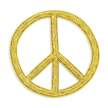 Sew On Bullion Peace Sign Crest Applique