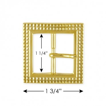 DETAILED SQUARE METAL BUCKLE WITH PRONG