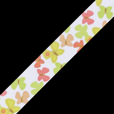 "7/8"" BUTTERFLY PRINTED RIBBON - YELLOW/CORAL MULTI"