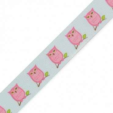 "7/8"" (23mm) Owl Printed Ribbon"