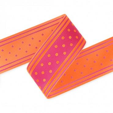 """1 1/2"""" Woven Dots Stripe Ribbon"""