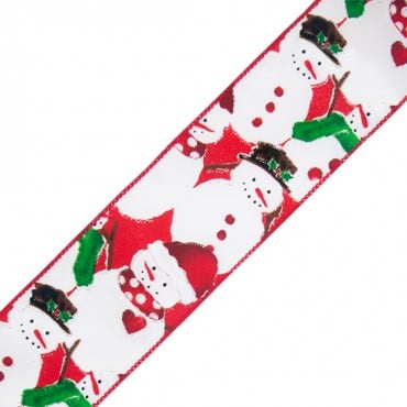 "2 1/2"" WIRED SNOWMAN RIBBON-2 1/2""-GREEN/RED"