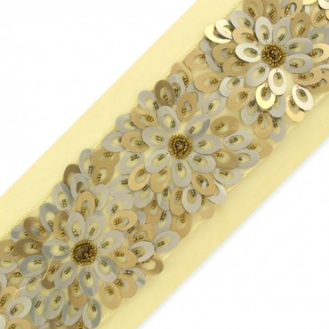 "3 1/4"" FLORAL SEQUINED AND BEADED TRIM"