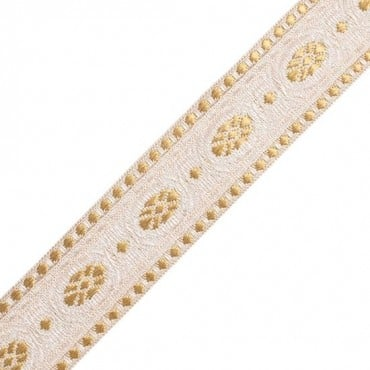 "1 ½"" Ivory and Gold Jacquard"