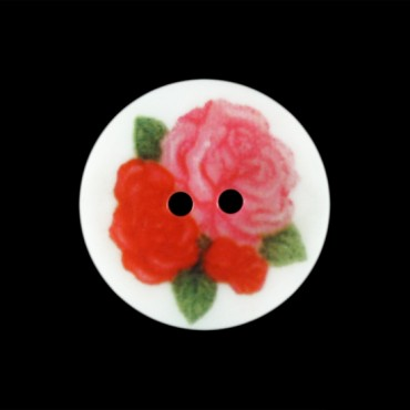2-HOLE SHELL LASER ROSE BUTTON