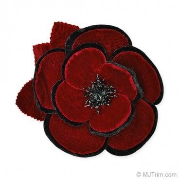 """4"""" VELVET TWO-TONE CAMELLIA FLOWER PIN"""