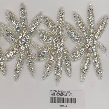 "2 1/4"" (57mm) Floral Rhinestone Trim"