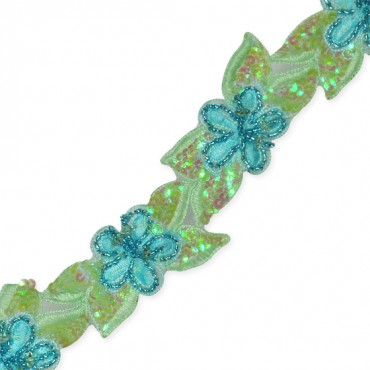 """1 1/2"""" SEQUINED FLORAL BEADED TRIM"""