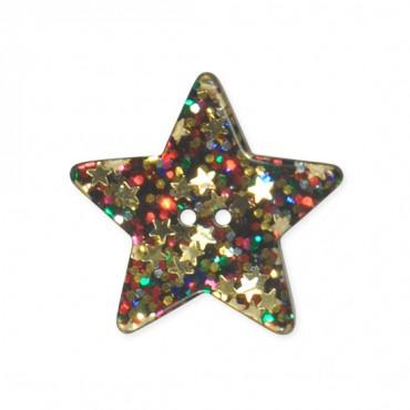 5-STAR GLITTER BUTTON - 2HOLES - MULTI