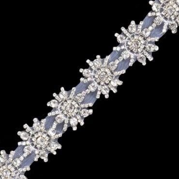 "1 1/2""(38mm) Floral Star Rhinestone Fringe"