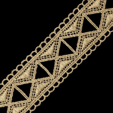 "1 3/8"" Fine Metallic Lace with Triangle Cutouts"