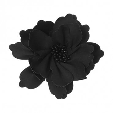 "4"" BLACK FLOWER WITH PIN-BLACK"