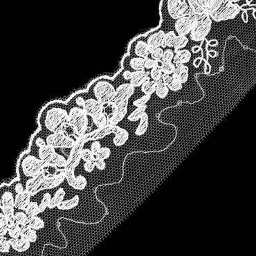 9 1//2 YDS GORGEOUS WHITE FLORAL COTTON EMBROIDERED TRIM