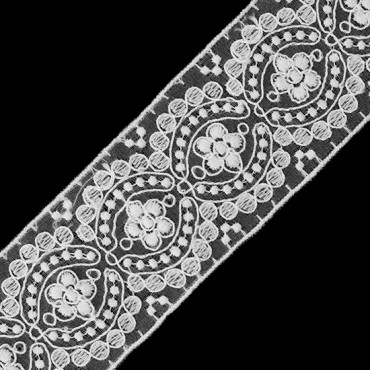 """1 3/4"""" EMBROIDERED FLORAL LACE"""