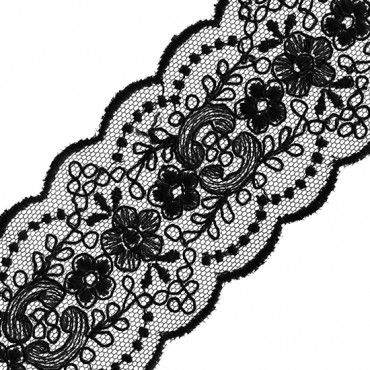 """2"""" SHEER EMBROIDERED SCALLOP LACE"""