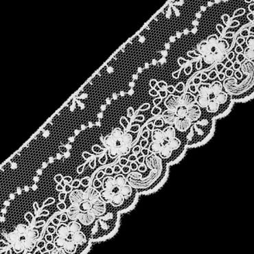 "2"" SCALLOP AND FLORAL EMBROIDERED LACE"